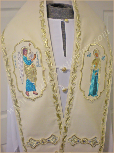 Orthodox Bishop's Small Wool Omophor Annunciation Embroidered