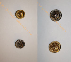 "READY TO SHIP Full or Half-Round Button Metal Silver or Gold 5/8"" (1.6 cm) Diam."