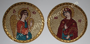 "Embroidered Icon Set of 2 : Annunciation 4-3/8"" (11 cm) diam., Gold and Colors"