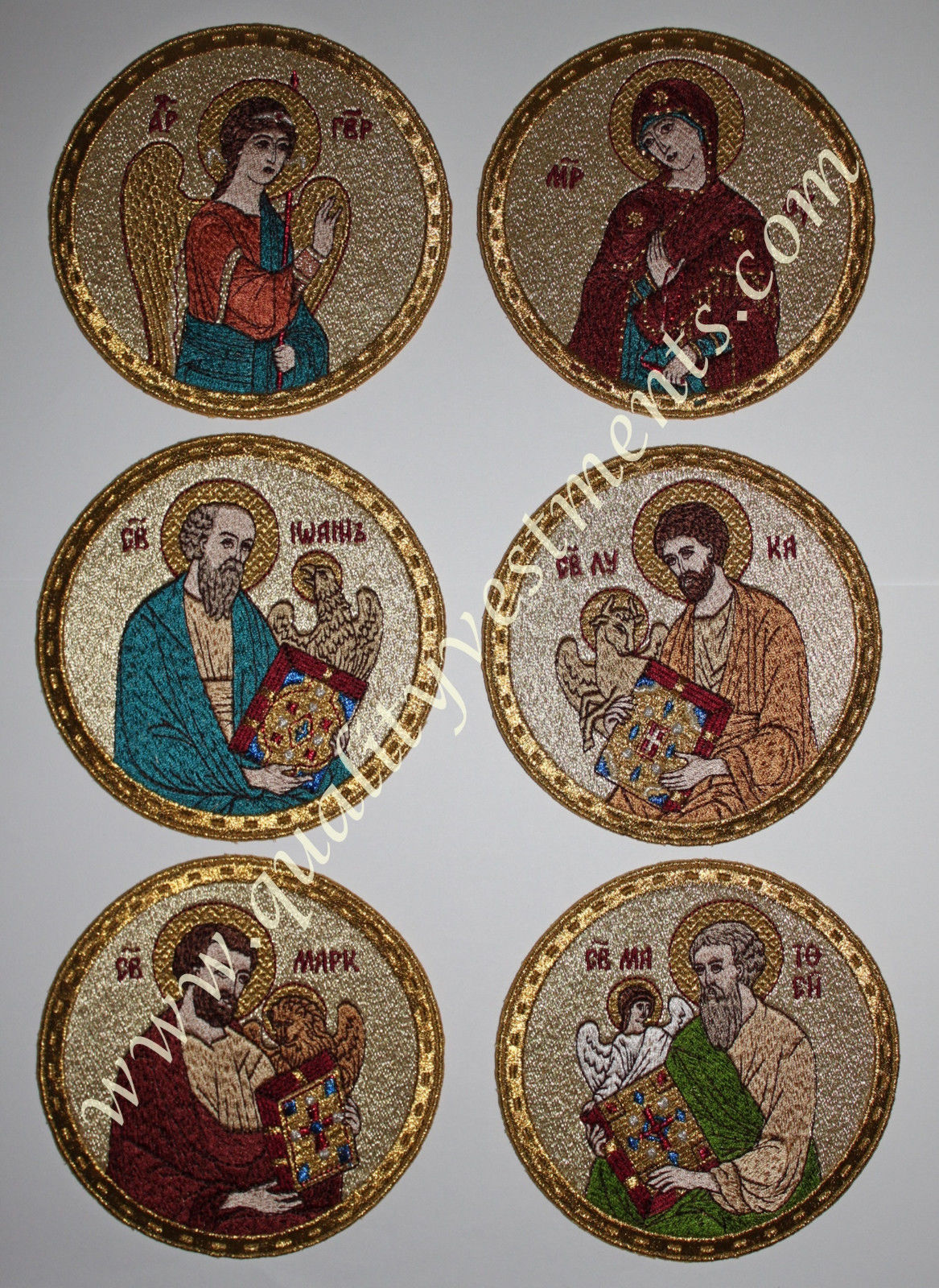 "Embroidered Icon Set of 6 Annunciation & Evangelists, 4-3/8"" (11 cm) dia Colors"