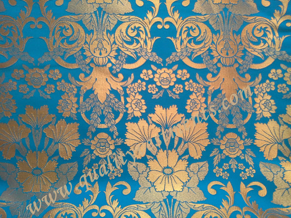 "Church Liturgical Vestment Metallic Brocade Fabric  Blue Gold ""Glaksinia""  59"" w"