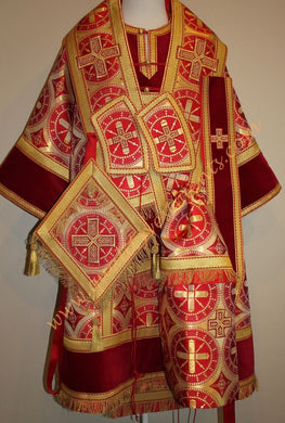 Orthodox Bishop's Vestments Metallic Brocade Red Gold combined Red Velvet TO ORDER.