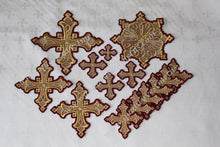 "Embroidered crosses Priest set ""Yaroslavl"" burgundy gold 14 pc set"