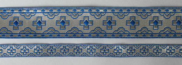 "Church liturgical jacquard vestment galloon trim ""Straight cross"" 7/8"" 2.2 cm"
