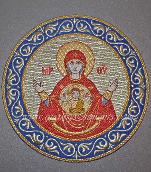 "Church Liturgical Embroidered Icon Mother of God Theotokos The Sign 7 1/2"" 19 cm"