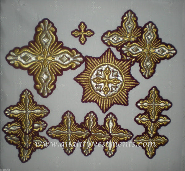 "Embroidered crosses ""Shell"" Priest vestments  Gold, Red, Blue, Green  ANY COLOR"