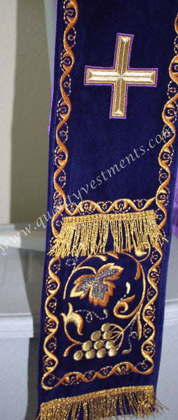 TO ORDER: Protodeacon or Greek Style Deacon Orarion Orar Stole, Purple Gold