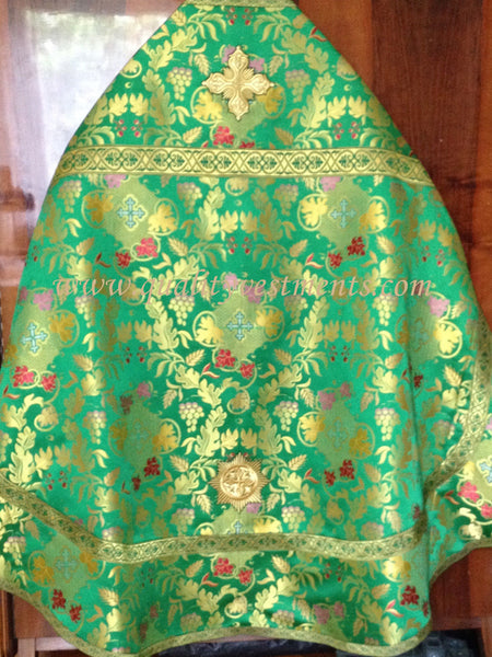 Church Liturgical Vestments Brocade Green  red grape leaves grapevine