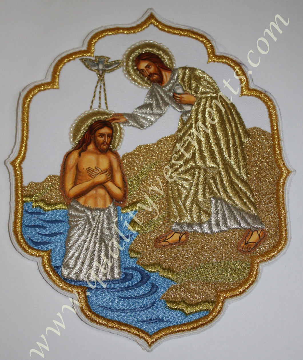 Embroidered Icon Theophany Baptism of Christ 8 1/4