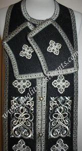 "Communion Priest Set Stole Cuffs Orthodox Embroidered Black Silver 43 1/2""(110)"