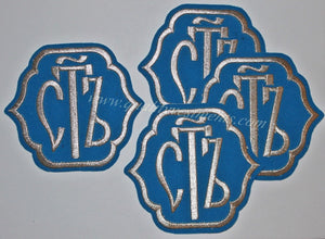 "Set: Orarion Svyat Holy Patches 4 1/2"" 12 cm Silver or Gold on Black Blue Gold"