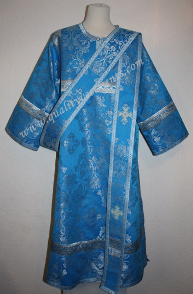 Deacon Greek Antioch Orthodox Vestment  Metallic Brocade Blue Silver