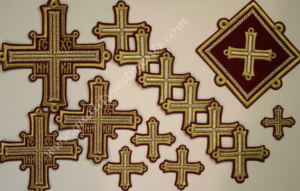 READY TO SHIP! Embroidered 14 Piece Cross Set Maroon Gold Priest Vestment