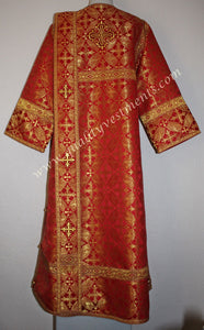TO ORDER Deacon Russian Orthodox Vestment Metallic Red Gold