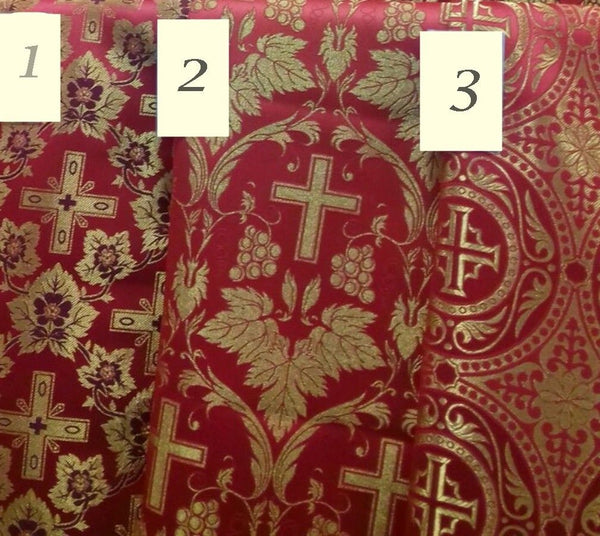 "Liturgical Vestment Fabrics (three) Metallic Brocade Red Gold 59"" W (150 cm)"