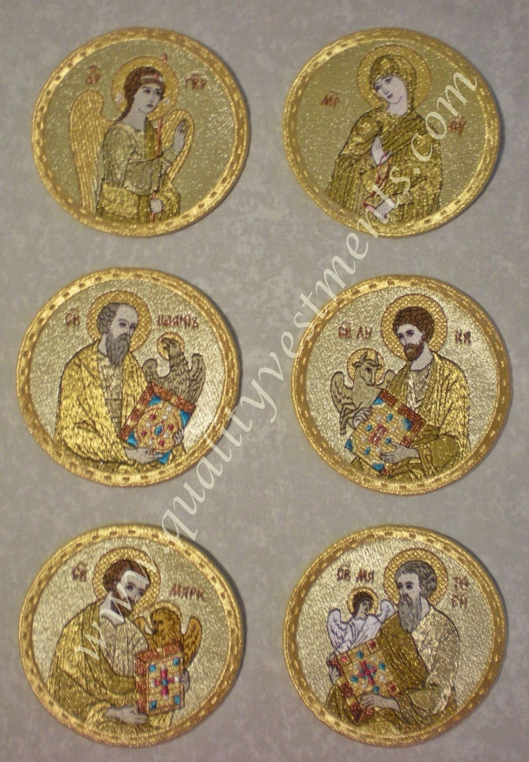 Embroidered Icon Set of 6 Annunciation & Evangelists, 4-3/8