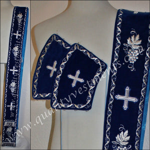 TO ORDER!!! Embroidered orarion orar oraria with cuffs BLUE  GRAPEVINE any color