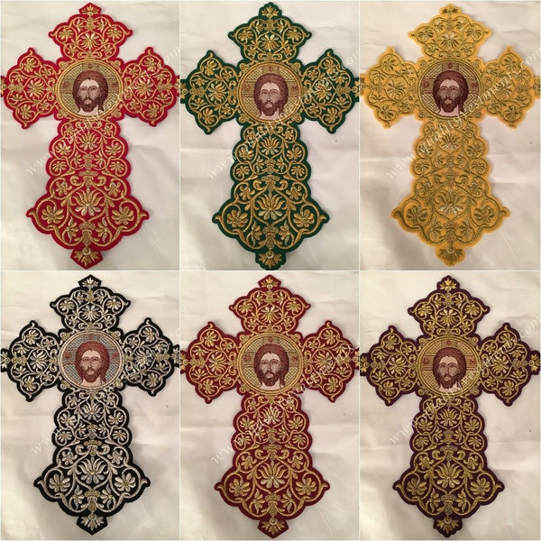 Embroidered Icon Christ sew on Cross Gold or Silver on Red More Colors 7.5 x 9 in