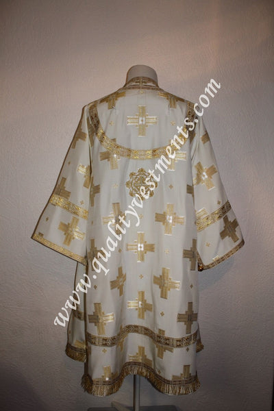 Orthodox Bishop vestments LIGHTWEIGHT rayon white with gold straight cross