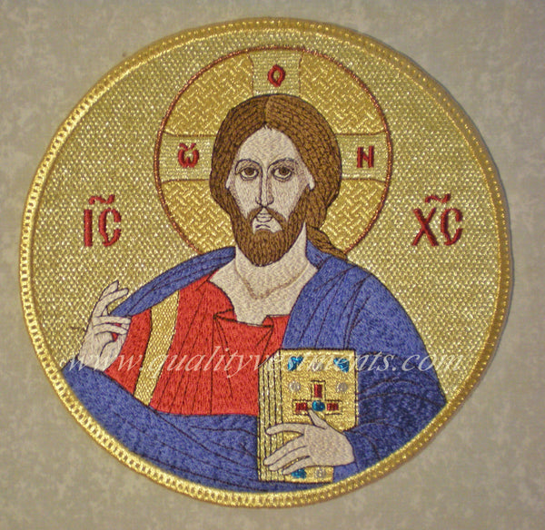 "Church Liturgical Embroidered Icon of Christ  9"" (23cm) Diameter"
