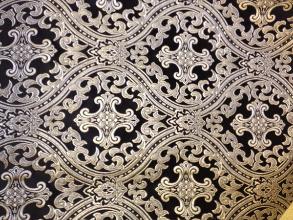 "Church Liturgical Vestment Brocade Material Fabric ""Cross in Waves"""