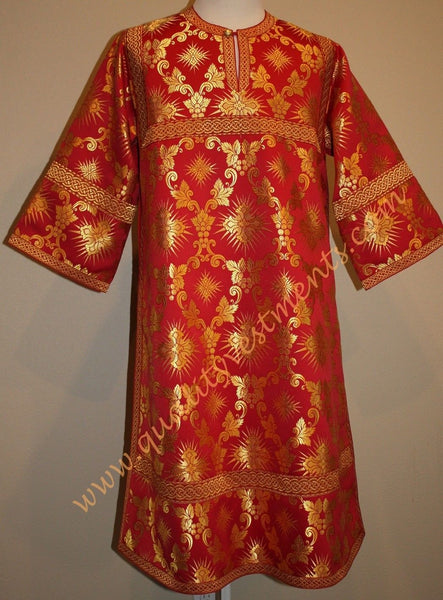 TO ORDER!!  Reader Acolyte Altar Server Robe Red Nonmetallic Brocade Grapevine
