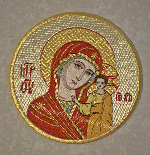 "Church Liturgical Embroidered Icon Mother God Theotokos Kazan 5 1/2"" 14 cm Diam."