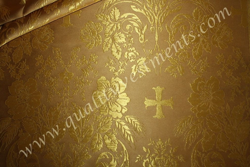Church Liturgical Vestment Greek Metallic Brocade Gold Cross Flower Vine Wheat