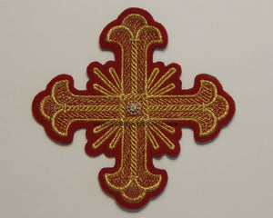 "Church Liturgical Red with Gold Embroidered Cross 4 1/2"" (11.5 cm)"