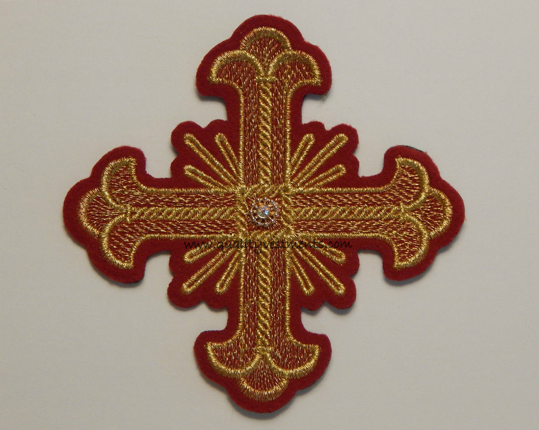 Church Liturgical Red with Gold Embroidered Cross 4 1/2