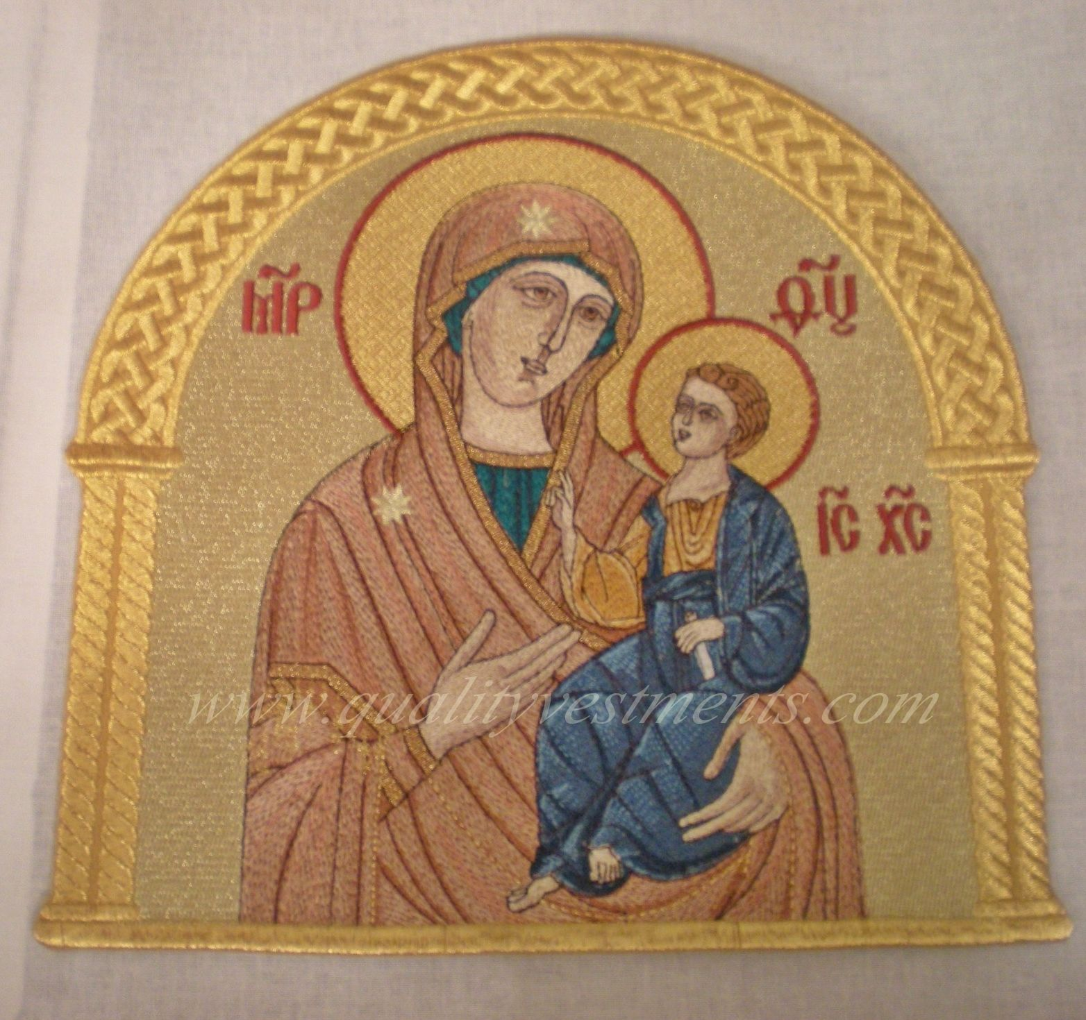 "Church Liturgical Embroidered Icon Mother God Theotokos Iverskaya 10"" 25cm Gold"