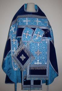 Russian Orthodox Priest Vestment  Metallic Brocade Blue Silver w Velvet