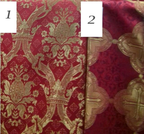 Liturgical Vestment Metallic Brocade Pineapple  Crown Cross Red Maroon Gold 59""