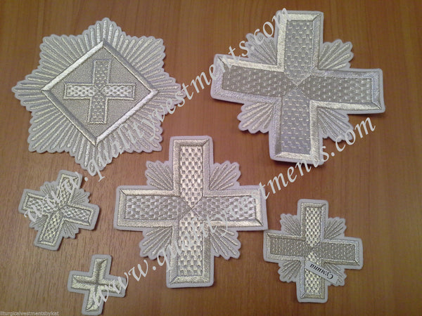 "Embroidered crosses Priest set ""Chess"" white silver 14 pc set"