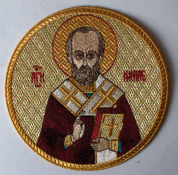 "Church Liturgical Embroidered Icon St.Nicholas  5 1/4"" (13 1/2cm)"