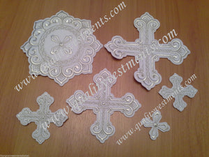 "Embroidered crosses Priest set ""Vostochnyi"" white silver 14 pc set"