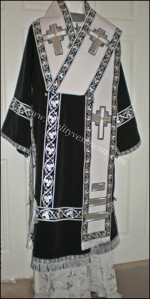 Orthodox Bishop's Vestments Black Silver made with Embroidered galloon LIGHTWEIGHT
