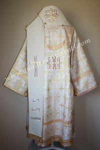 Orthodox Bishop Vestments White Gold Metallic Brocade Wool Omophor