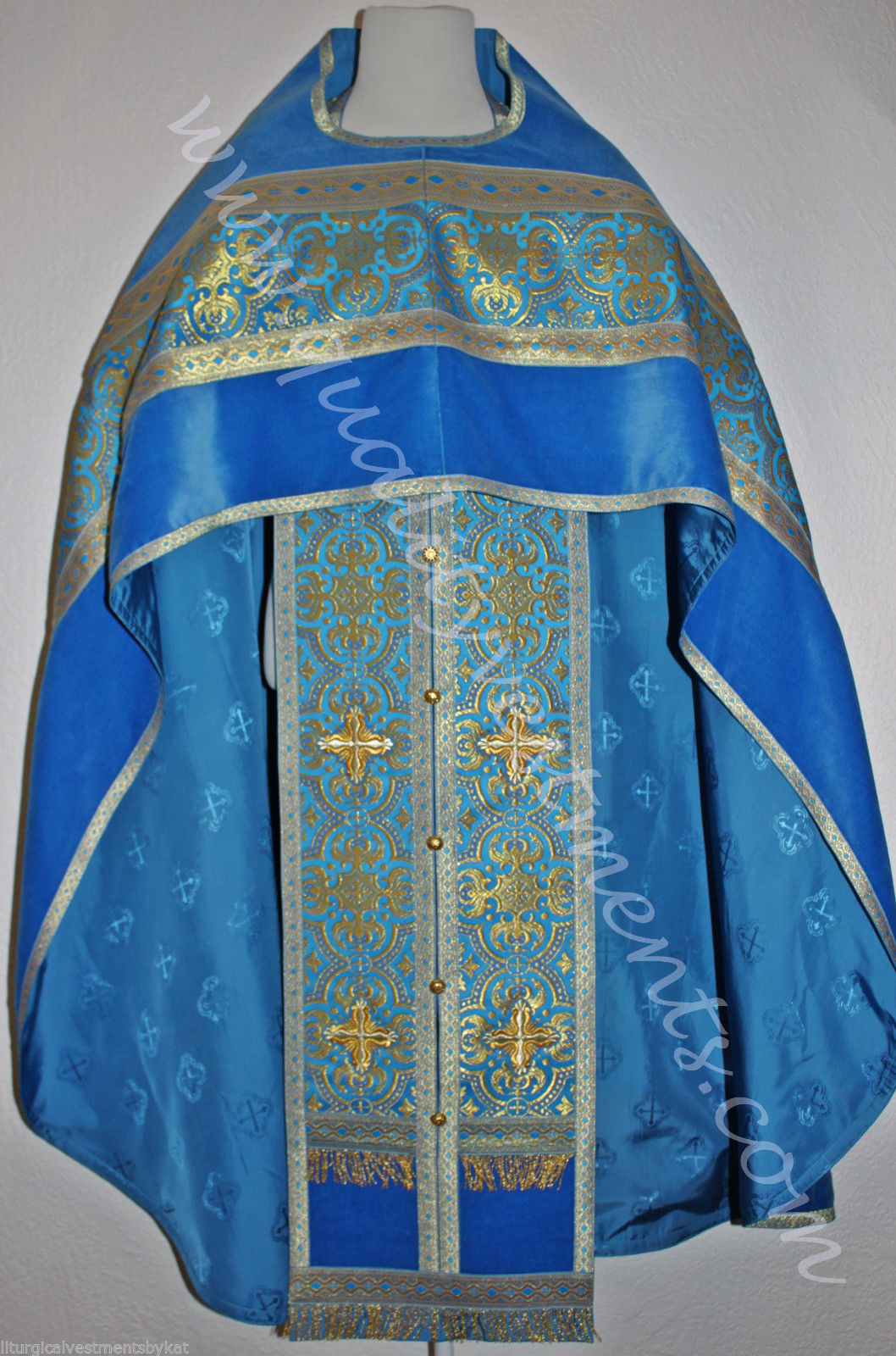 Russian Orthodox Priest vestment  Metallic Brocade Russian style Blue Gold