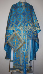 TO ORDER!! Priest Orthodox Vestment Greek Style Blue Gold Metallic Brocade