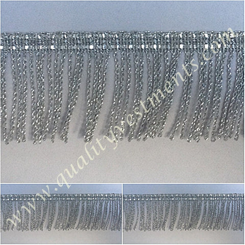 "Church Liturgical Vestment Fringe Silver 1 1/2""  (4.4cm)  Quality Fringe!!!!"