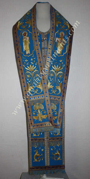 Orthodox Bishop's Omophor + Stole + Cuffs Embroidered Blue Protection Pokrov
