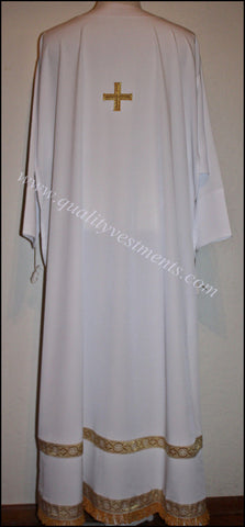 White Sticharion or Podsaccosnick with trim fringe and cross white any color