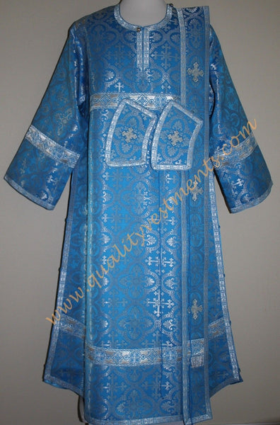 TO ORDER: Deacon Orthodox Vestment Russian Style Metallic Brocade Blue Silver