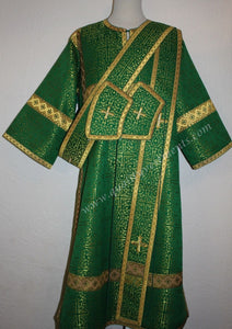 Deacon Orthodox Vestment Greek Style Nonmetallic Brocade Green Gold or Any Color