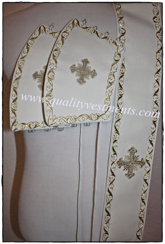 Embroidered orarion orar oraria with cuffs White gold or Any color