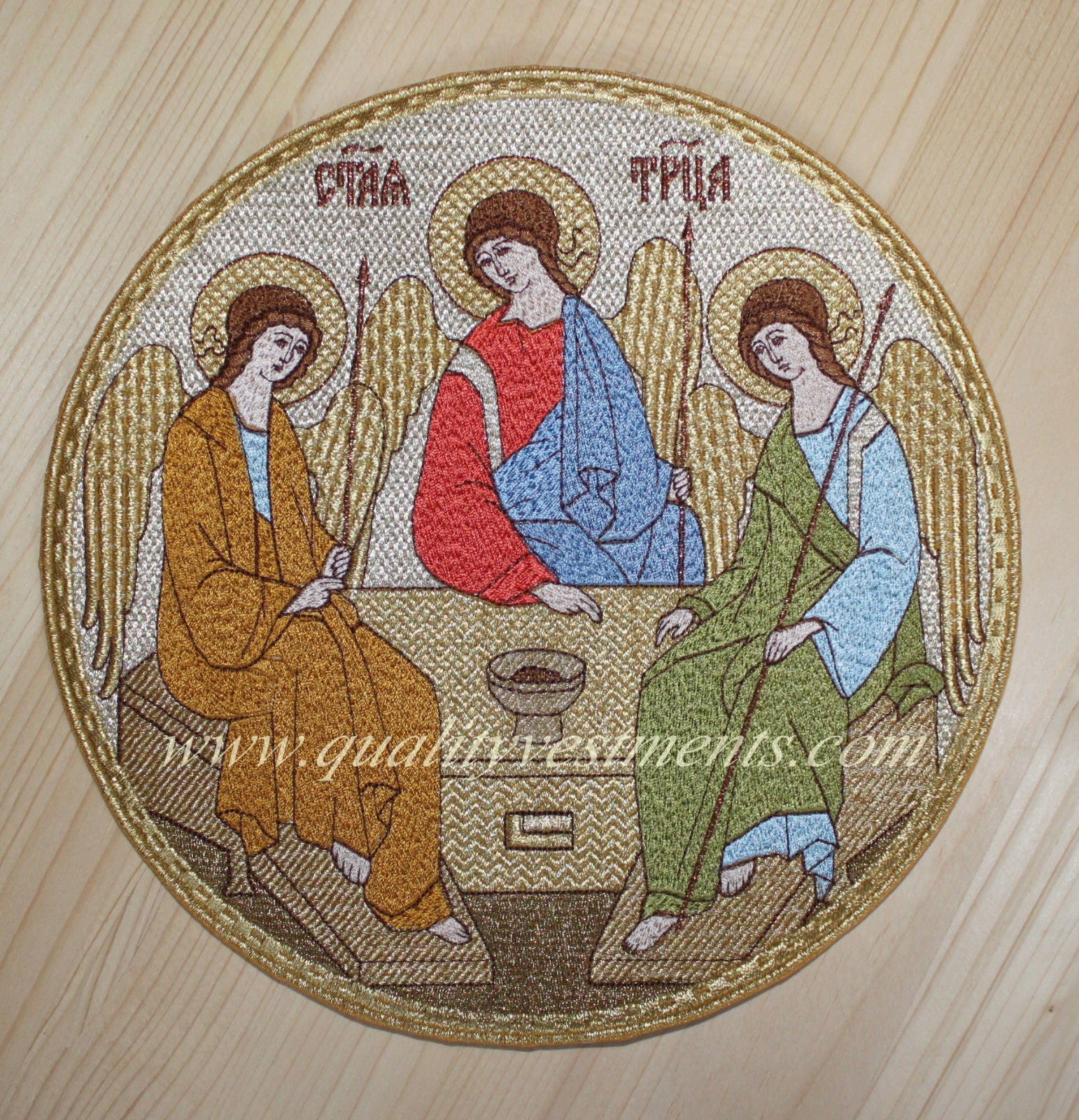 "Church Liturgical Embroidered Icon Trinity 7"" (18cm) Diameter Gold or Silver"