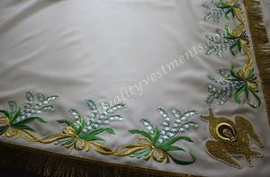 TO ORDER! Embroidered Altar Table Cover Pelena White with Lily of the Valley