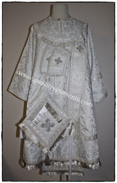 Eastern Orthodox Bishop Vestments White Nonmetallic Brocade Wheat Pattern
