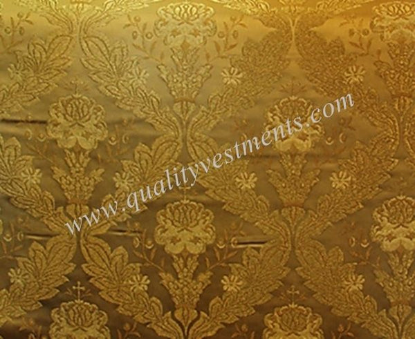 "Church Liturgical Vestment Greek Metallic ""Bouquet in Romb"" Brocade Material"